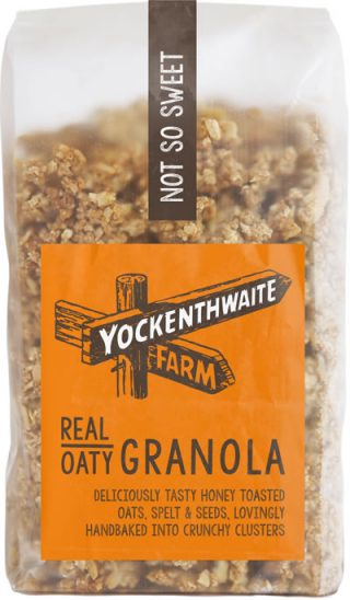 A 475g bag of low sugar plain granola